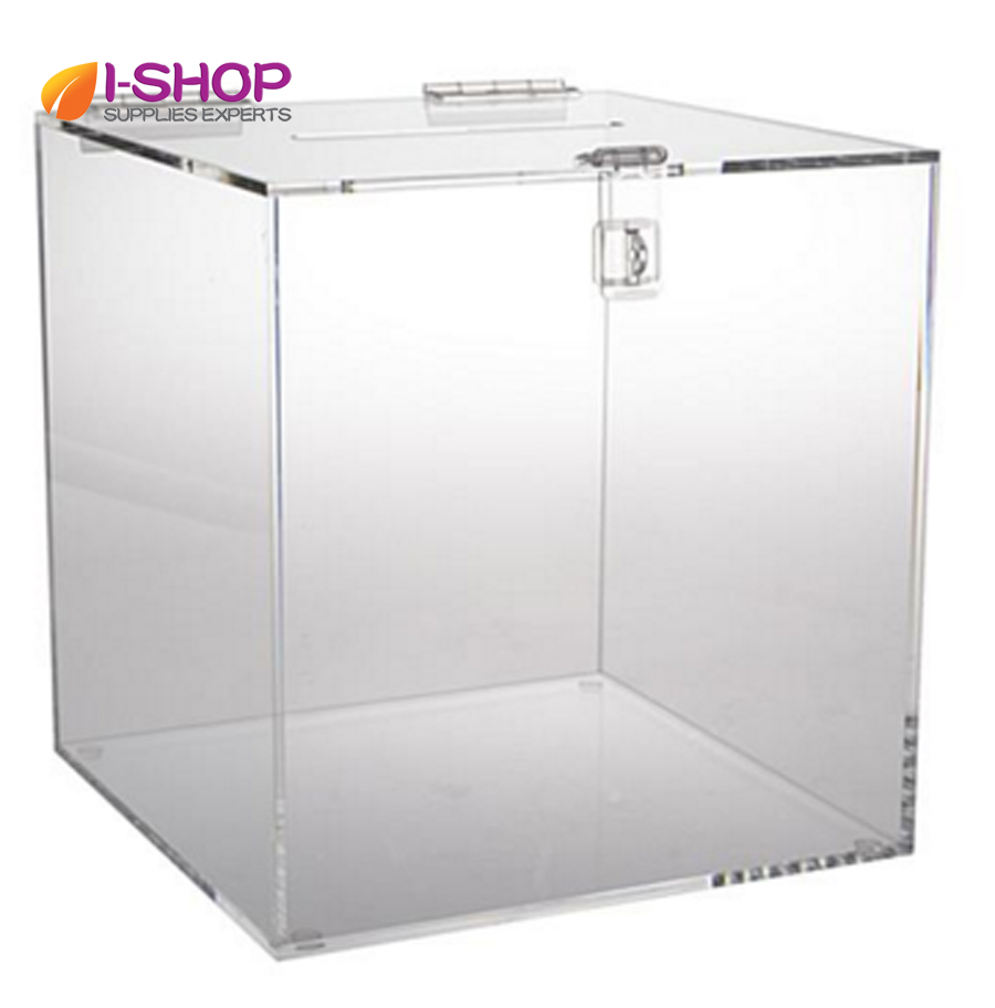 Clear acrylic donation box/ ballot box/ suggestion box good use for office, restaurant, bank SEB