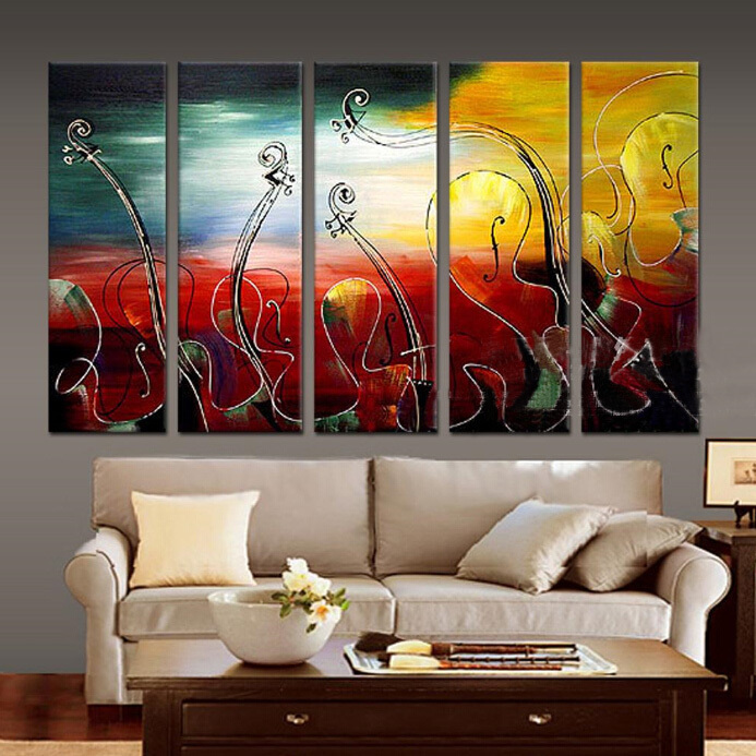 MODERN ABSTRACT Home WALL ART OIL PAINTING ON CANVAS abstract Guitar painting shipping no framed in Painting Calligraphy from Home Garden