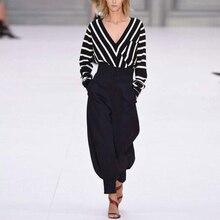 Spring 2017 new stripe long-sleeved v-neck blouse loose slacks two-piece fashion suits