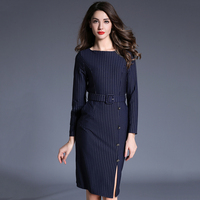 Summer Women Striped Dresses Fashion Blue Long Sleeves Vestido Red Cotton Split Dress New E Feminina