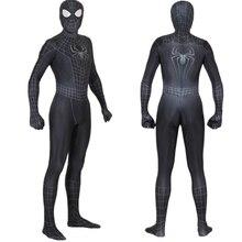 Unisex crianças aranha 3 simbiote preto 3d cosplay traje zentai aranha super herói macacão terno halloween