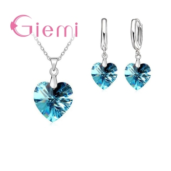 Hot Sell Exquisite Heart 925 Sterling Silver Earrings Necklaces Sets for Girls Ladies Austrian Crystal Wedding Accessories