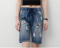Chaude 2016 Automne Plus La Taille jeans en gros d'été détruits trou jeans femme Sexy style Coréen élastique taille haute pantalon 1058