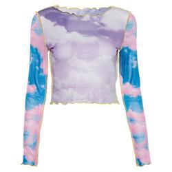 Blue sky cloud print mesh tshirt women crop top transparent casual summer t-shirt 2019 patchwork sexy tee shirt femme Camiseta 2