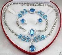 Голубой циркон серебряные сеть серьги браслета ожерелья > * 18 К позолоченные часы оптовая продажа кварцевые камень CZ кристалл