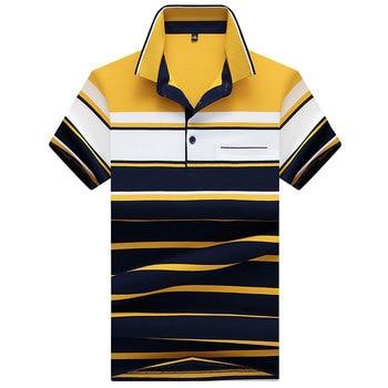 Polos de alta calidad a estrenar para hombre con bolsillo 2018 verano transpirable Camisa Masculina suave a rayas Polo para hombre