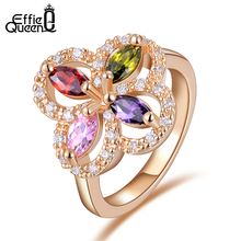 Effie Quee New Fashion Charm Rose Gold Plated Wedding Finger Ring Colorful Crystal Zircon Ring Jewelry for Women DDR02