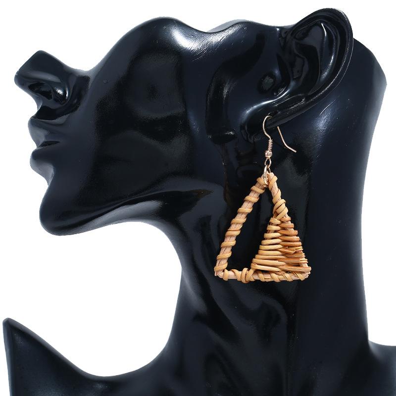 Bohemian Wicker Rattan Knit Pendant Earrings Handmade Wood Vine Weave Geometry Round Statement Long Earrings for Women Jewelry 30