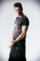 PUNK RAVE men short sleeved T shirt with digital printing and wash by the old way knitted print fashion T shirt T 330