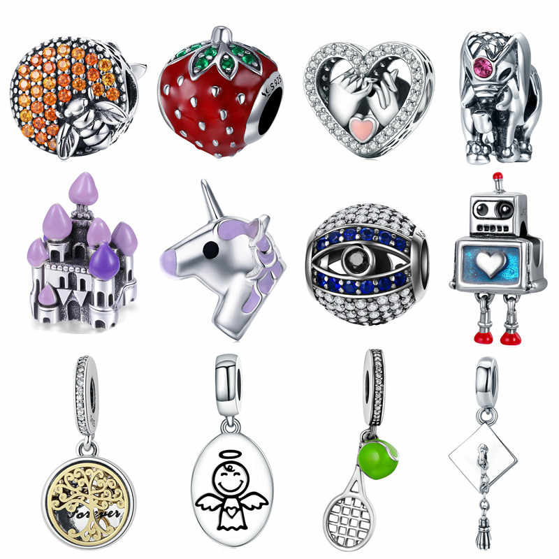 bd955750b fit Pandora Bracelet 925 Sterling Silver Cute Bee Elephant Unicorn Animal  Charm Women Family Tree Fairytale