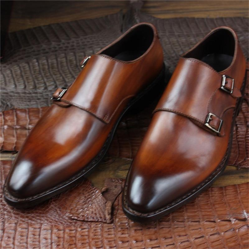 Goodyear Welted Klasik Kulit Asli Ganda Gesper Buatan Tangan pria - Sepatu Pria - Foto 6