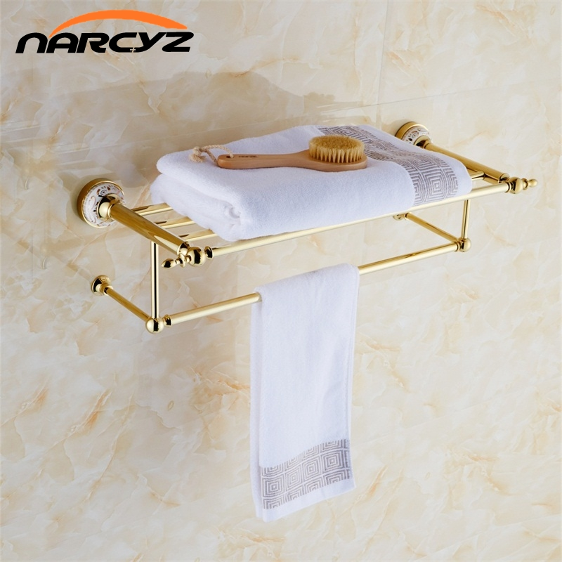 NEW Golden Brass Wall Mounted Bathroom accessories Double Shelf ...
