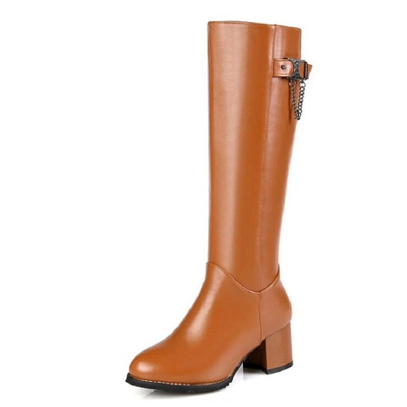 ФОТО Fashion Metal Buckle High-Leg Female Boots Spring And Autumn Casual Thick Heel Riding Boot For Women Side Zipper Knee High Boots