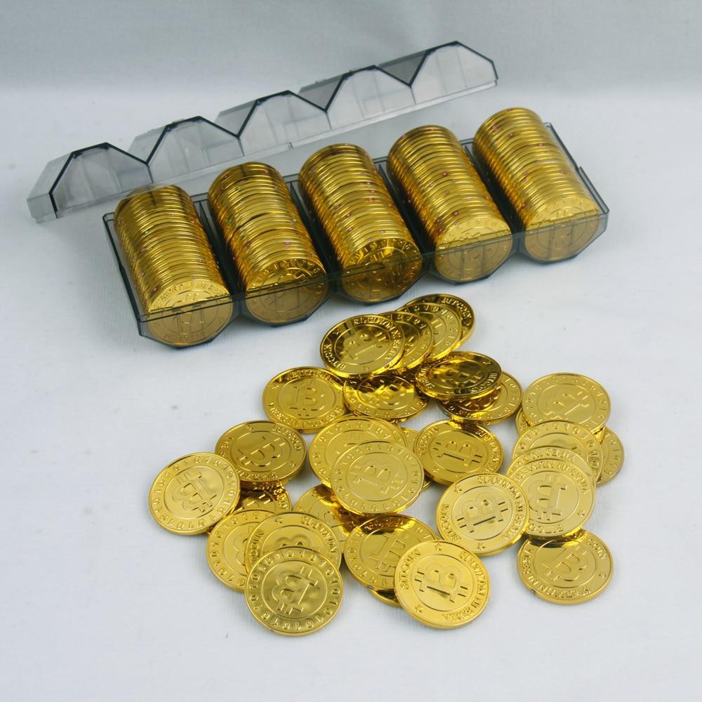 50 unids/Pack Casino bitcoin modelo bitcoin prop chips bitcoin modelo bitcoin monedas de oro chapado texas holdem casino chips