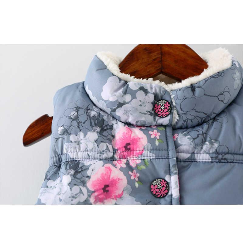 Çocuklar için yelek kız kış kürk yelek kolsuz aşağı ceket pamuk çiçek yelek çocuk kalın giyim