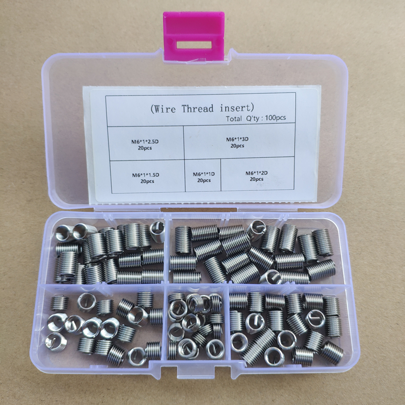 100PCS M6 304 Stainless Steel Wire Thread Insert Screw Bushing Wire Screw Sleeve Thread Repair Kit