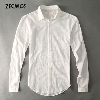 1ce5620ace380ef Повседневные Гавайские рубашки мужское хлопковое белье дизайнерский бренд Slim  Fit Мужские рубашки с длинными рукавами белые рубашки для мужч.