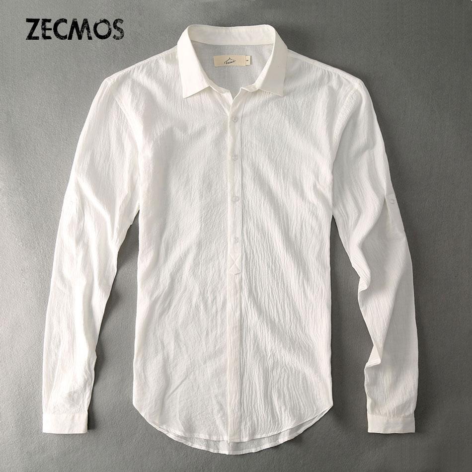b4ec9e1c255 Casual Hawaiano camisas hombres algodón Lino diseñador marca Slim Fit Hombre  Camisas manga larga blanco camisas para hombres ropa primavera