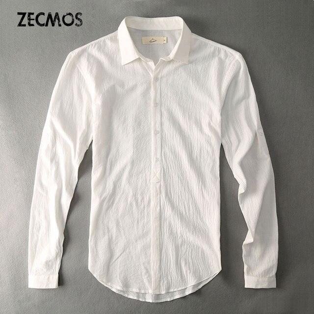Casual Hawaiian Shirts Men Cotton Linen Designer Brand Slim Fit Man Shirts  Long Sleeve White Shirts For Men Clothes Spring 52f50ff5a9d7