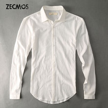 7b7c709f7903 Casual Hawaiian Shirts Men Cotton Linen Designer Brand Slim Fit Man Shirts  Long Sleeve White Shirts