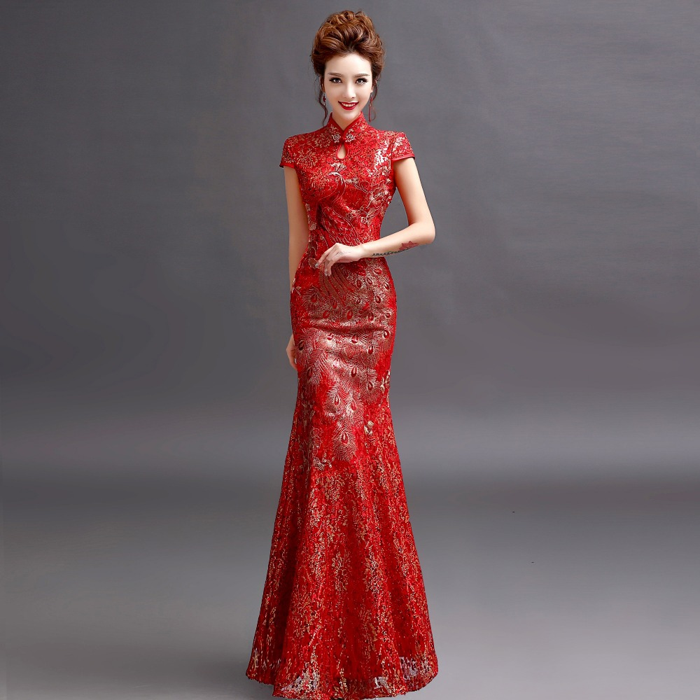 Long Cheongsam Qipao Chinese Traditional Dress Red