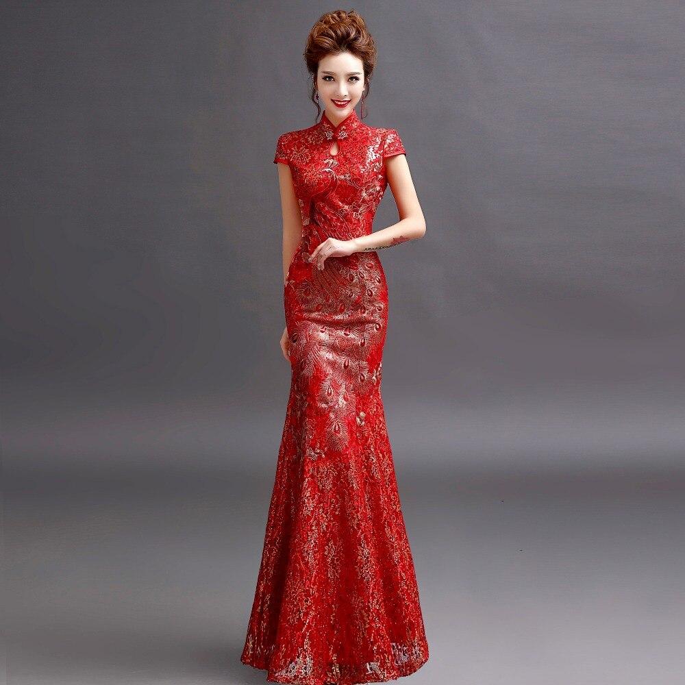 Long cheongsam qipao chinese traditional dress red for Traditional red chinese wedding dress