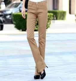 ขนาดบวกยาวสีลูกอมกางเกงกางเกงยีนส์กางเกงยางยืดหญิงบูตบางตัด2018กางเกงผู้หญิง