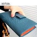 Nova chegada de crocodilo padrão de moda couro bolsa feminina de couro genuíno projeto de longo carteira cartão titular carteira das mulheres