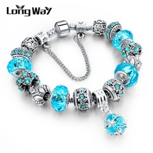 Longway tibetan authentic european christmas charm beads blue bracelet silver style