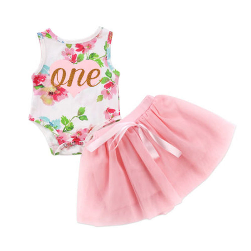 0 to 24M Christmas Newborn Baby Girls Clothes Hot sell Floral Sleeveless Romper +Tutu Tulle Dress 2pcs Outfits Baby Clothing Set