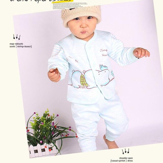 2PCS Winter Newborn Set Cartoon Hippo Girl Boys Clothes Long Sleeve Unisex Suit Baby Top+Pants Sets Candy Color Infant Underwear