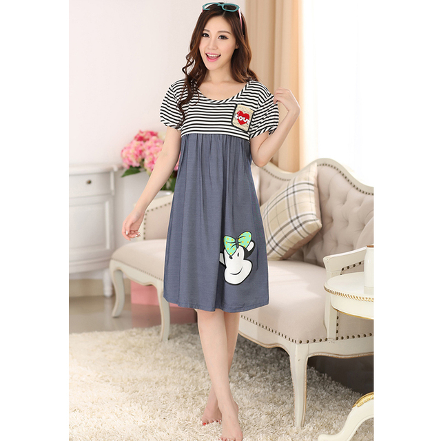 Breastfeeding maternity sleepwear striped nursing maternity pajamas cotton clothes for pregnant women casual maternity dresses