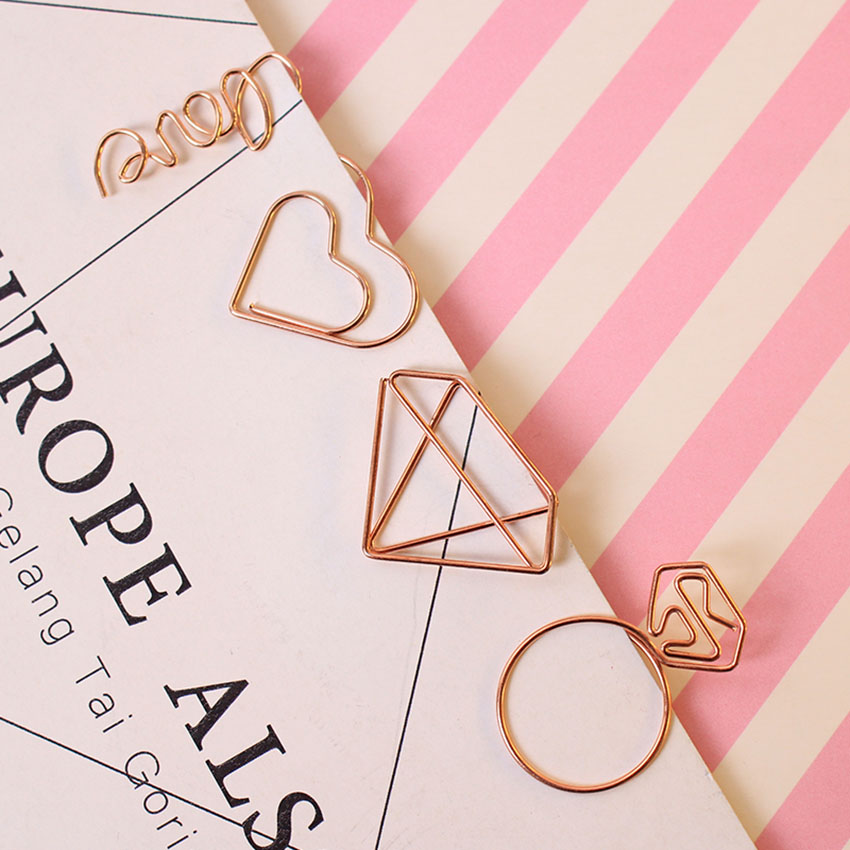 Office & School Supplies 1pc Lovely Cartoon Bookmark Paper Needle Rose Gold Paper Needle Simple Metal Modeling School Student Bookmark Clip Clips