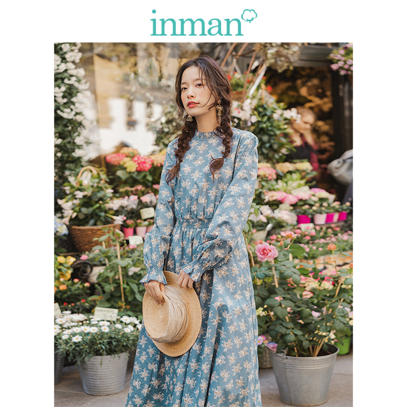 INMAN 2019 Autumn New Arrival Lace Stand Up Collar Retro Floral Literary Defined Waist A-line Goddess Style Women Dress