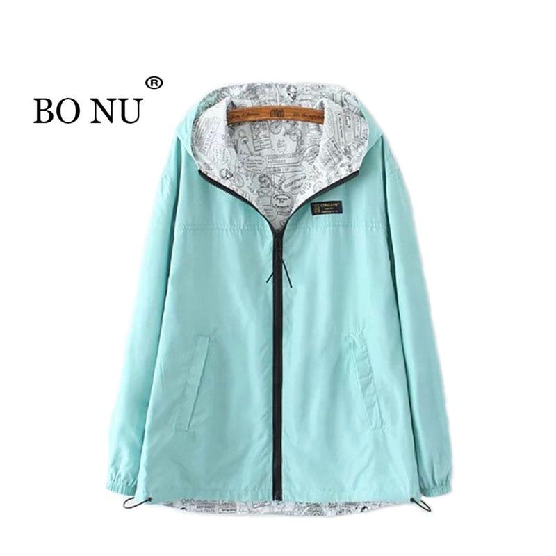 BONU Europen Plus Size 3XL Hooded Jacket Women Windbreaker bomber jacket Harajuku Hooded Long Overise Coat Women Basic Coat