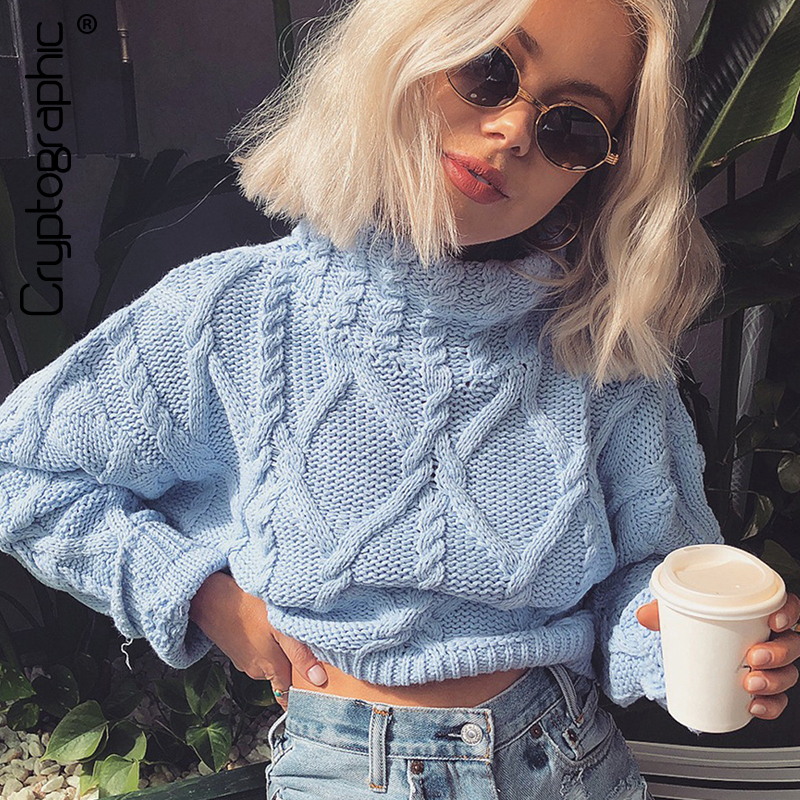 Cryptographic 2019 New Autumn Winter Turtleneck Sweaters For Women Crop Tops Solid Twist Knitting Short Pullover High Neck