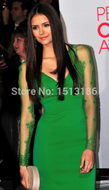 Green Full Sleeves Lace Sheer Mini Short Celebrity Dresses 2014 Sexy V-neck Evening Dress Gowns by Nina Dobrev XY151