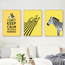 Nordic Poster Yellow Zebra Canvas Painting Cartoon Lover Pictures And Print Wall Art Abstract Can Be Customized