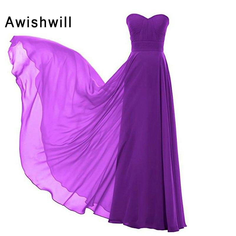 Nouveauté robe de demoiselle d'honneur chérie ruché une ligne robes de demoiselle d'honneur en mousseline de soie élégant vert menthe violet bleu 2019