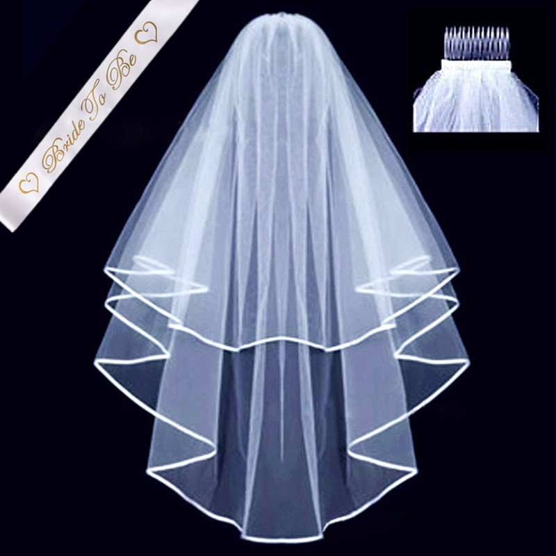 Two Layers White Bridal Wedding Veil With Comb Bride To Be Satin Sash Bachelorette girls Hen Party Bridal Decoration Supplies