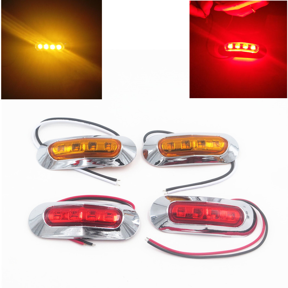 CYAN SOIL BAY 4X Yellow Amber/Red 4-LED Universal Side Marker Light & Clearance Lamp Front/Rear DC 10-30V cyan soil bay car auto t10 25w 30 led smd 4014 lamp parking reverse backup light w16w fog bulb ice blue red amber yellow white