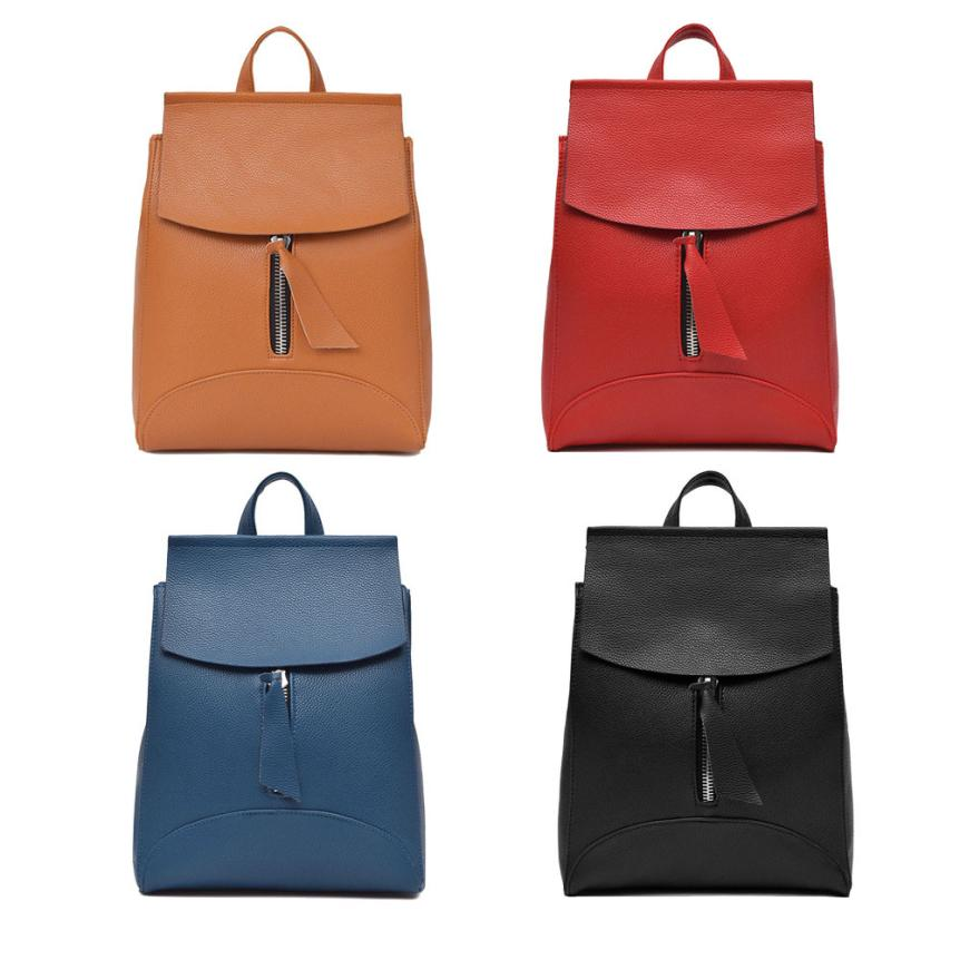 maison Backpacks high quality leather fashion girl Travel Rucksack Soft Zipper Shoulder School backpack women 2018MA15