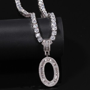 Image 4 - THE BLING KING English Initials Baguette Letters Necklace Pendant Wirh 4mm Cubic Zirconia Tennis Chains Fashion Hiphop Jewelry