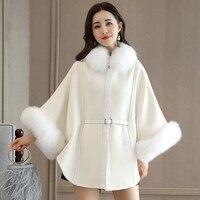 2017 Winter Fashion Women cloak Faux Fur Coat Poncho White Warm Basic Coats Fur Jacket Elegant Luxury Women Jacket