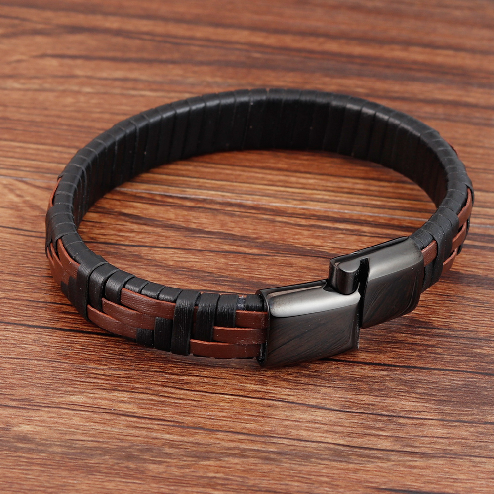 Hand-knitted Simple Style Classic Men Bracelet Multi-color Stainless Steel Magnetic Clasp Charm Leather Bracelets Gift
