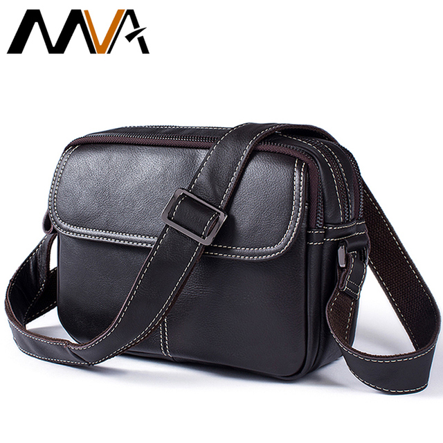 MVA Crossbody Bag Black Fashion Men Messenger Bags Small Flap Solid Mens  Shoulder Bags Zipper ipad Genuine Leather Men Bag Male fd6fefe76e337