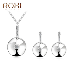 ROXI Charms Arc Shadow Stud Round Earrings/Chain Necklace Fashion Jewelery Set Rose Gold Plated Wedding Pendant Valentine's Gife