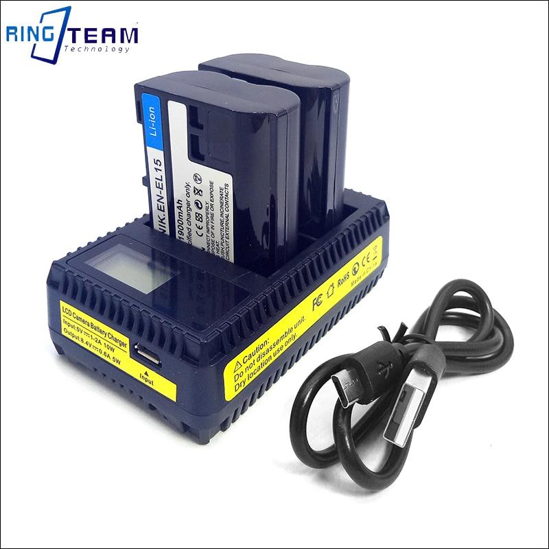 2x EN-EL15 EN EL15 Battery & 1x Dual Charger for Nikon Camera D500 D600 D610 D750 D850 D800 D800E D810 D810A D7100 D7200 1 V1 3pcs 1900mah en el15 enel15 el15 battery led usb dual charger for nikon d500 d600 d610 d750 d7000 d7100 d7200 d800 d800e d810