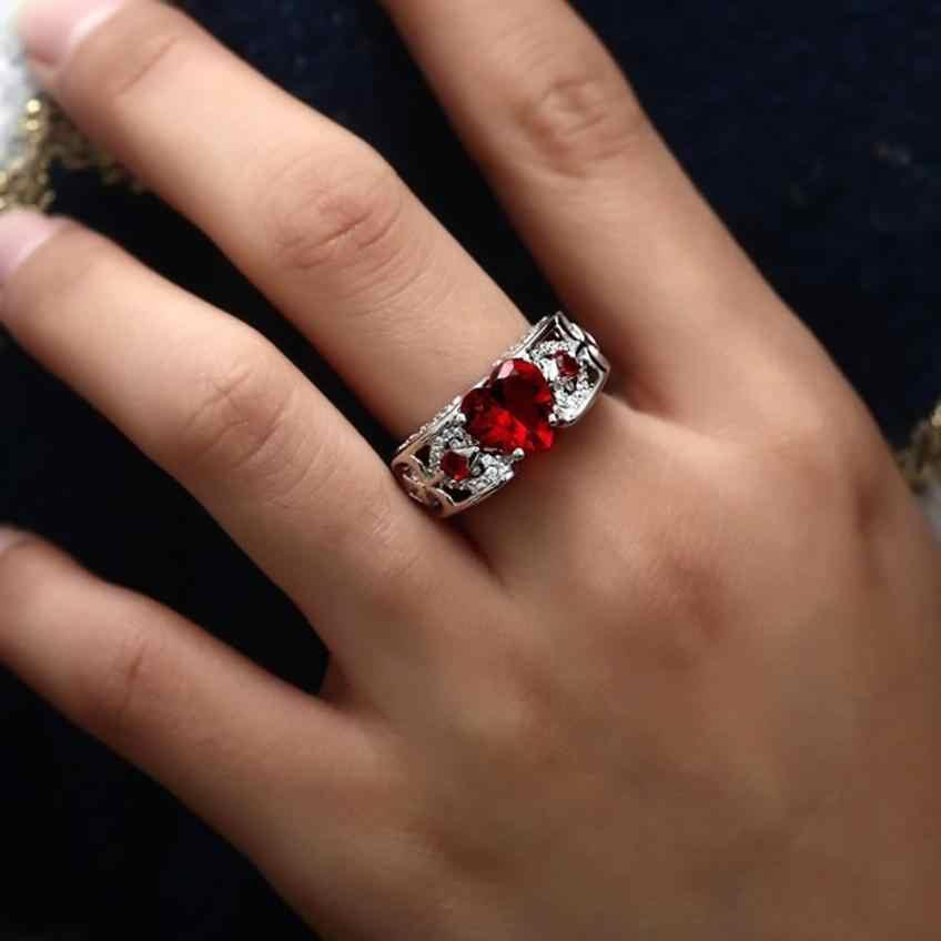 אופנתי כסף טבעי טבעת אבן המזל הכלה חתונה אירוסין לב טבעות תכשיטי אבזר יפה טבעת קישוטי סטים