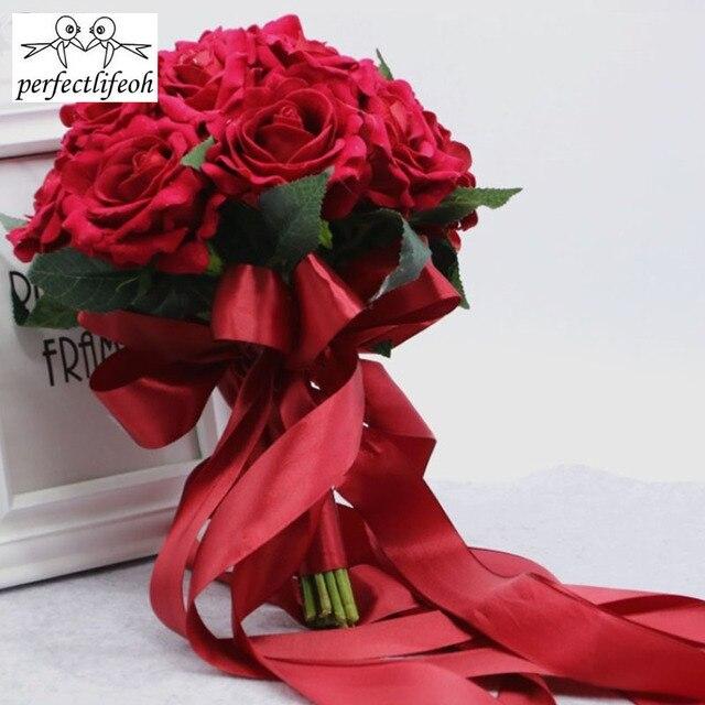 Perfectlifeoh باقة الزفاف الديكور زهور الورد باقة الزفاف الأبيض الساتان رومانسية الزفاف الزهور باقات الزفاف